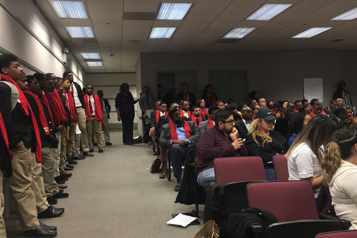 Urban Prep West students and supporters listen to testimony at the Illinois State Charter Commission. in March 2019.