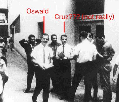 Lee Harvey Oswald in August 16, 1963 next to a mystery man who is not Ted Cruz's father