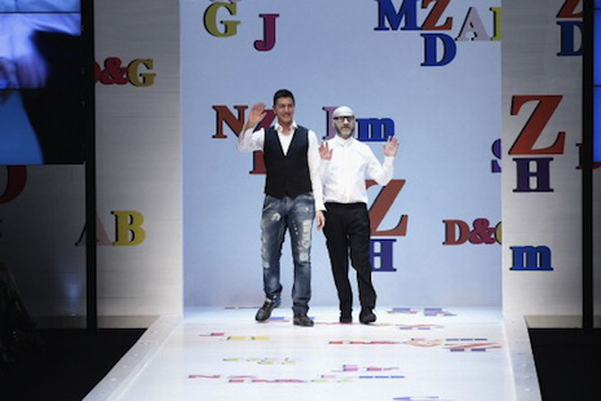 The designers take their bow at the February D&G Dolce & Gabbana show