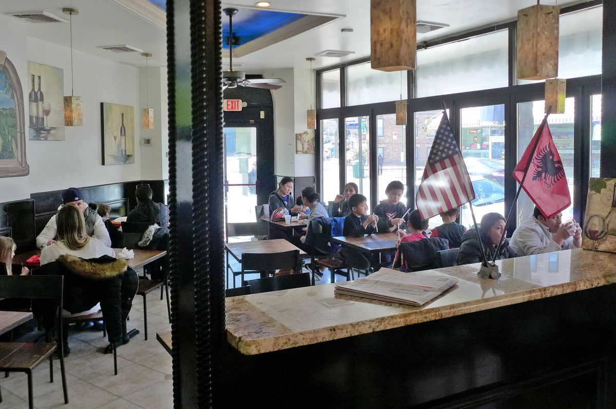 The flatiron-shaped dining room at Lenny's