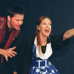 """Charlton James and Gayle Staffanson in """"Fahrenheit 451"""" at Plan-B Theatre."""
