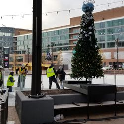 Another view of the ice rink being set up