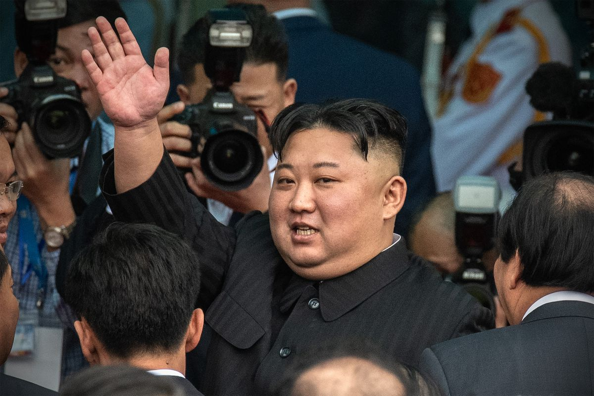 North Korean leader Kim Jong Un waves as he prepares to leave Vietnam on March 2, 2019 in Dong Dang.