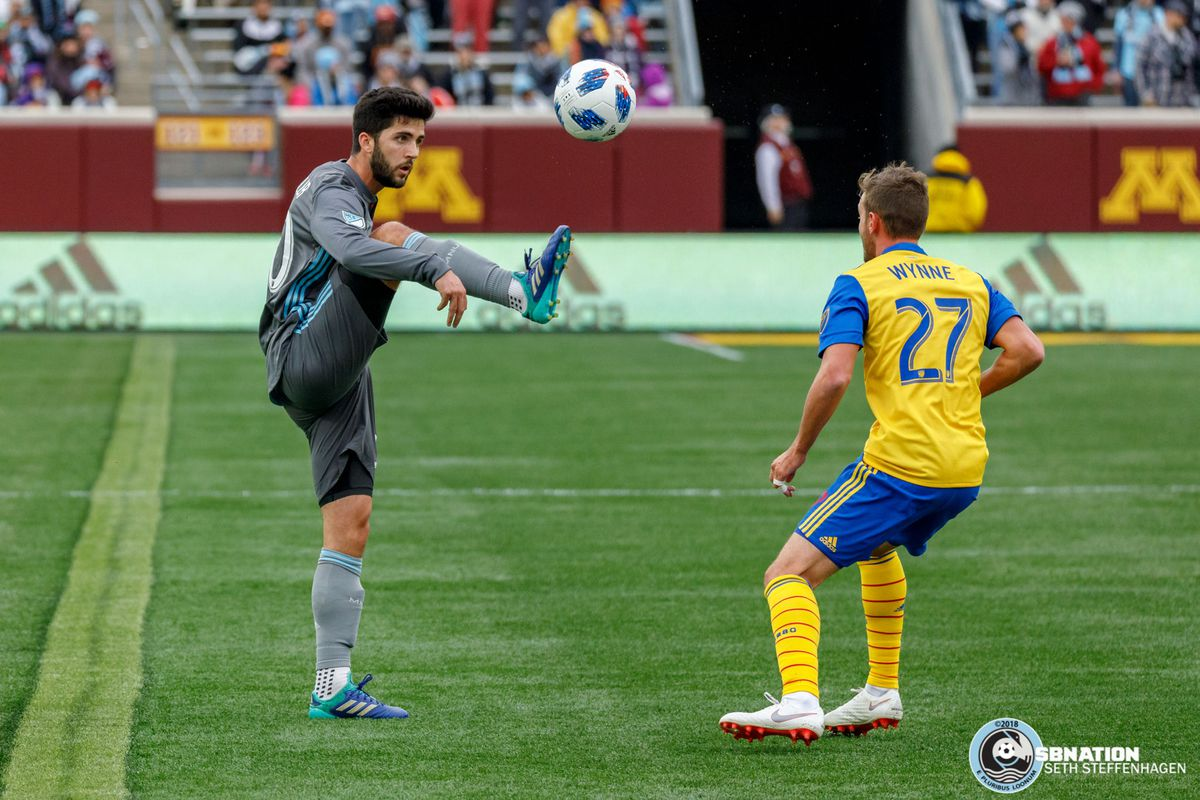 October 13, 2018 - Minneapolis, Minnesota, United States - Minnesota United defender Eric Miller (30) plays the ball during the match against the Colorado Rapids at TCF Bank Stadium.