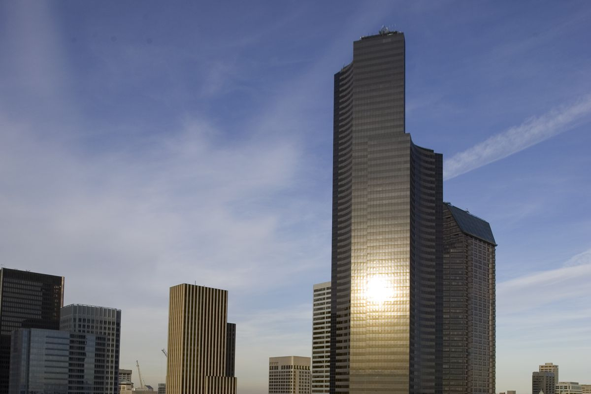 Columbia Center, an Equity Office property, rises above down