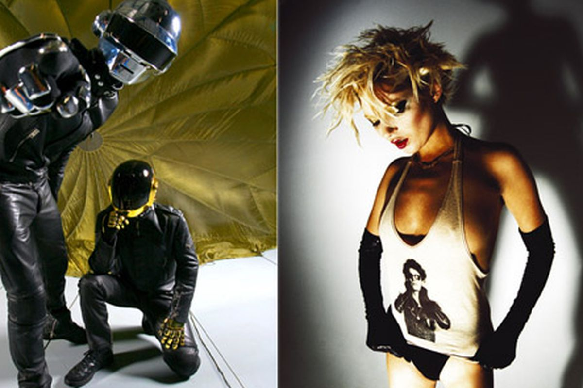 Together at last: Daft Punk and Kate Moss. At least Mick Rock's photos.