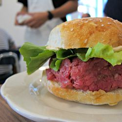 """Beef Tartare Burger from M. Wells Dinette by <a href=""""http://www.flickr.com/photos/scottlynchnyc/8048786463/in/pool-eater"""">Scoboco</a>"""