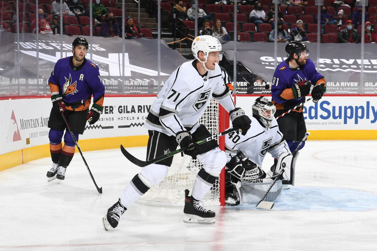 Austin Strand #71 of the Los Angeles Kings skates up ice against the Arizona Coyotes at Gila River Arena on February 20, 2021 in Glendale, Arizona.