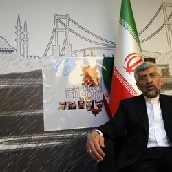 Iran's Chief Nuclear Negotiator Saeed Jalili speaks to The Associated Press after day-long talks with six world powers in Istanbul, Turkey, Saturday, April 14, 2012.