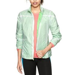 """<b>GapFit</b> Reflective Nylon Jacket in neon lime green, <a href=""""http://www.gap.com/browse/product.do?cid=83072&vid=1&pid=249051012"""">$64.95</a>"""