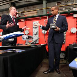 Eric Eddings, professor of chemical engineering at the University of Utah and research project leader, and Jay Williams, U.S. assistant secretary of commerce for economic development, discuss different things that can be made out of carbon fiber at the U.'s Industrial Combustion and Gasification Facility in Salt Lake City on Wednesday, Oct. 26, 2016.