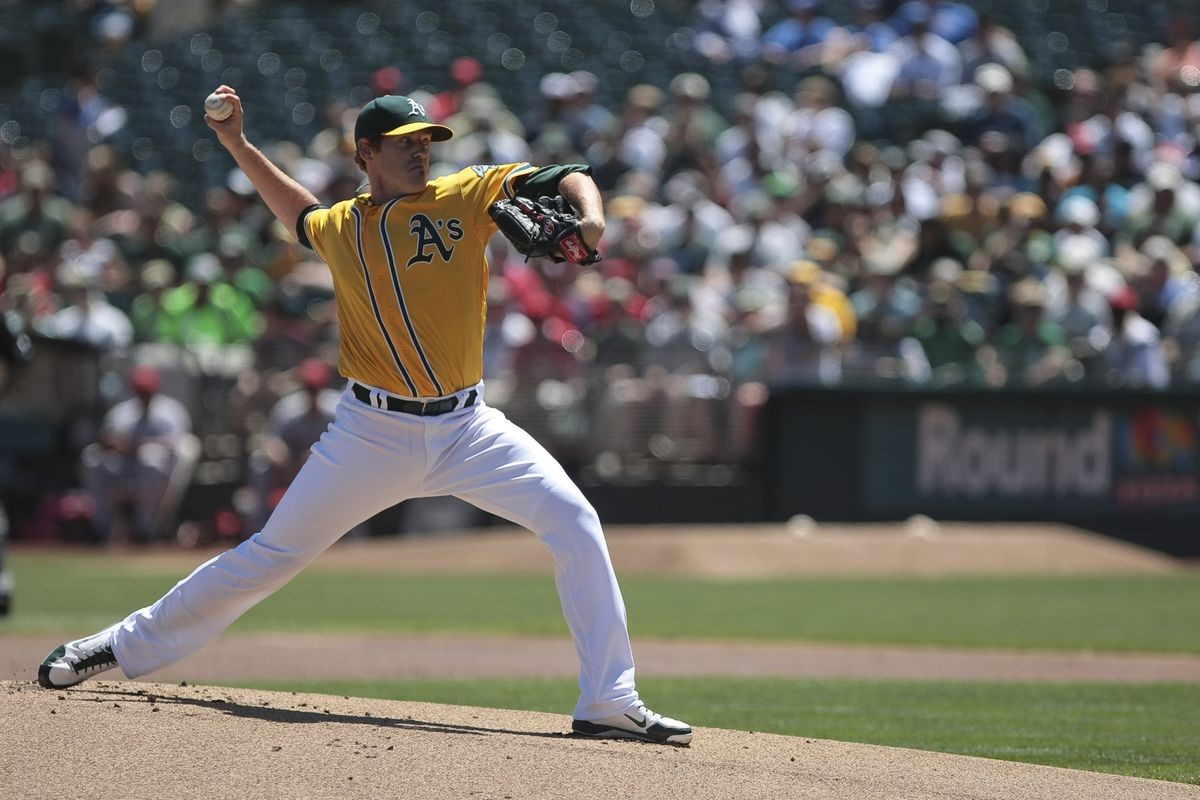 Oakland, CA, USA; Oakland Athletics starting pitcher Dan Straily (67) pitches the ball against the Los Angeles Angels during the first inning at O.co Coliseum.  Mandatory Credit: Kelley L Cox-US PRESSWIRE