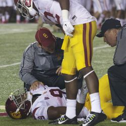 JuJu Smith down on the ground after slipping on a kickoff return.