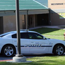 A police car is parked in front of Westbrook Elementary School in Taylorsville on Thursday, Sept. 11, 2014. A teacher accidentally shot herself in the leg, while alone in a faculty bathroom, shortly before school started.