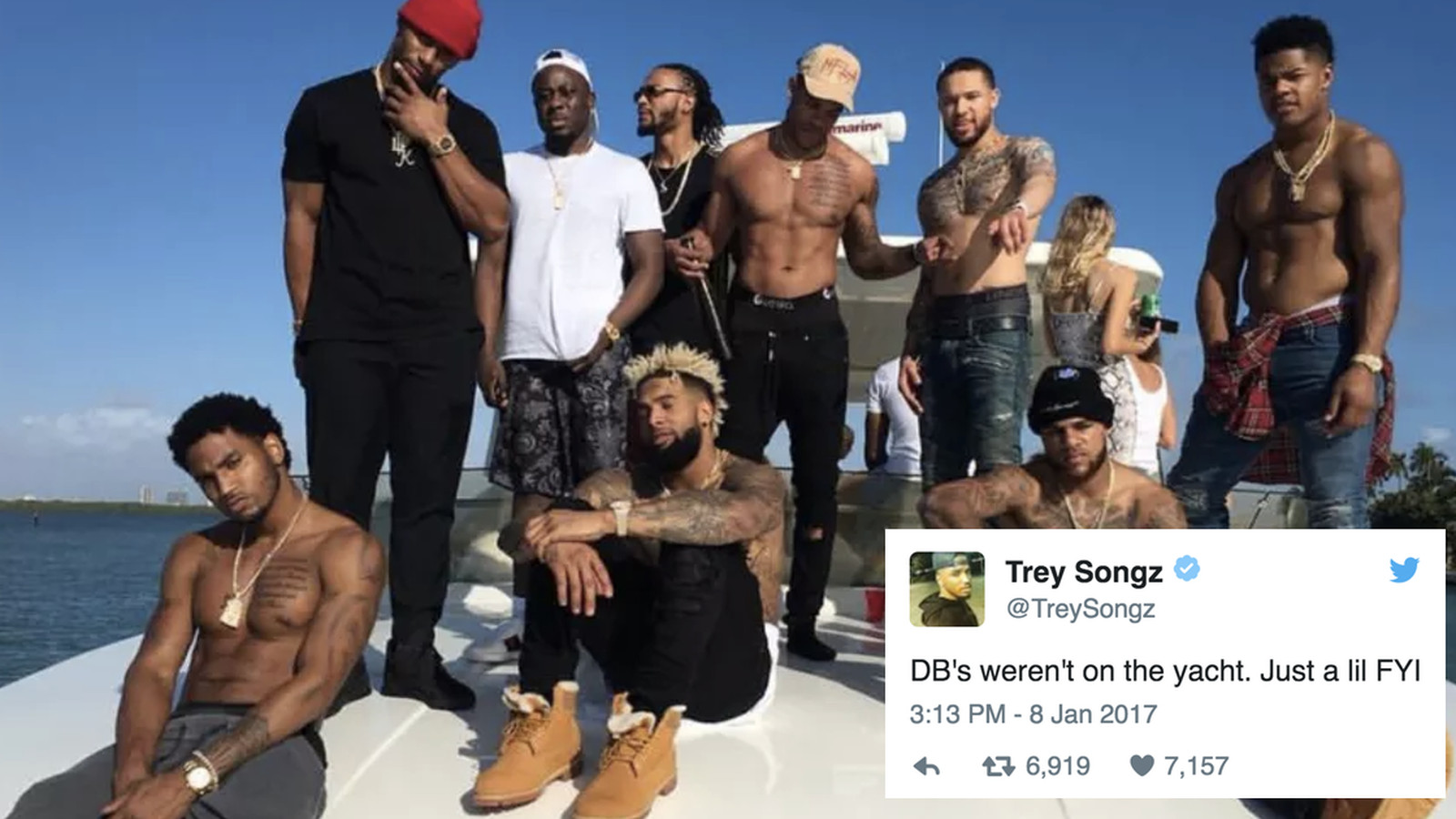 Trey Songz defends the Giants' boat trip while throwing ...