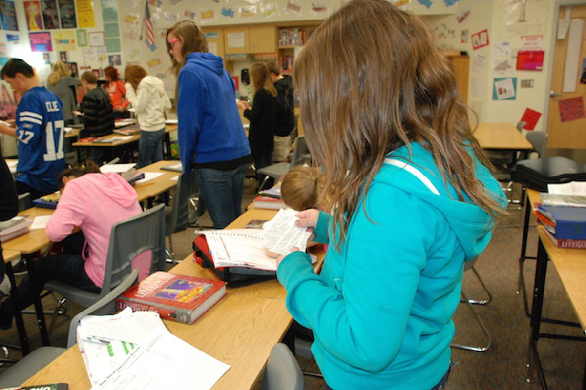 A student at work at Grand Junction's Bookcliff Middle School. Grand Junction undertook district-wide overhauls to reduce the effects of student moves.