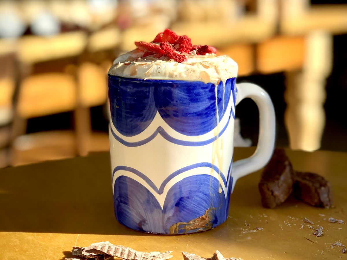 A variety of toppings can be added to Borsalia's hot chocolate