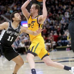 San Antonio Spurs guard Bryn Forbes (11) guards Utah Jazz guard Joe Ingles (2) during an NBA game at Vivint Arena in Salt Lake City on Friday, Feb. 21, 2020. The Jazz lost 104-113.