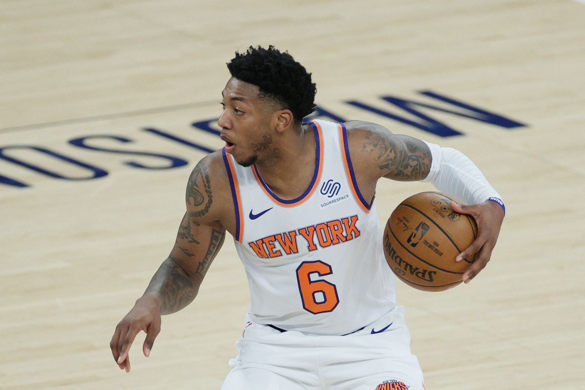 Elfrid Payton of the New York Knicks dribbles during the second half against the Charlotte Hornets at Madison Square Garden on April 20, 2021 in New York City.