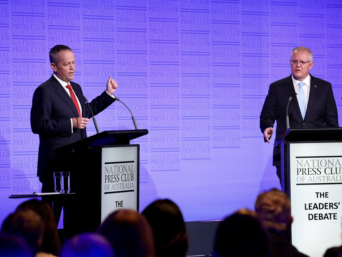 "Prime Minister Scott Morrison and Labor leader Bill Shorten take part in ""The Leaders' Debate'' at the National Press Club on May 8, 2019, in Canberra, Australia."