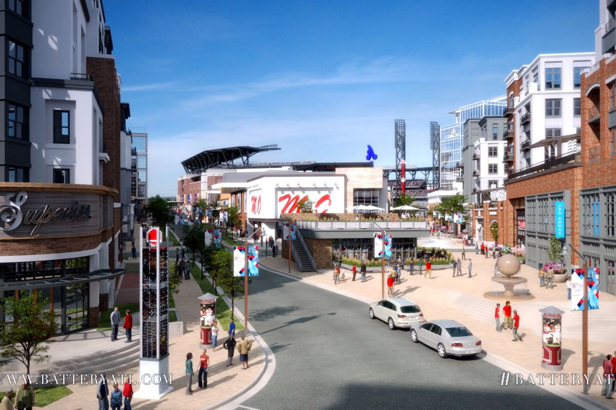 This rendering gives an idea of what to expect from the development adjacent to SunTrust Park.