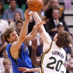 Utah Jazz guard Gordon Hayward (20) defends Dallas Mavericks forward Dirk Nowitzki (41) as the Utah Jazz and the Dallas Mavericks play Monday, April 16, 2012 in Salt Lake City.