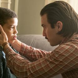 """THIS IS US -- """"Memphis"""" Episode 116 -- Pictured: (l-r) Lonnie Chavis as 9 year old Randall, Milo Ventimiglia as Jack -- (Photo by: Ron Batzdorff/NBC)"""