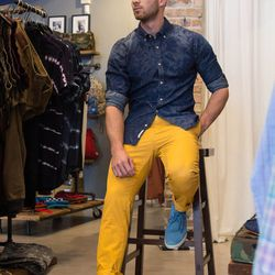 """Patterned Shirt, Scotch and Soda, N/A; Basic Chino in Ginger, <a href=""""http://shopbasico.com/products-page/mens-pants/basic-chino-ginger/"""">Scotch and Soda</a>, $139; Strayhorn Unlined Steel Suede, <a href=""""http://shopbasico.com/products-page/shoes/strayho"""