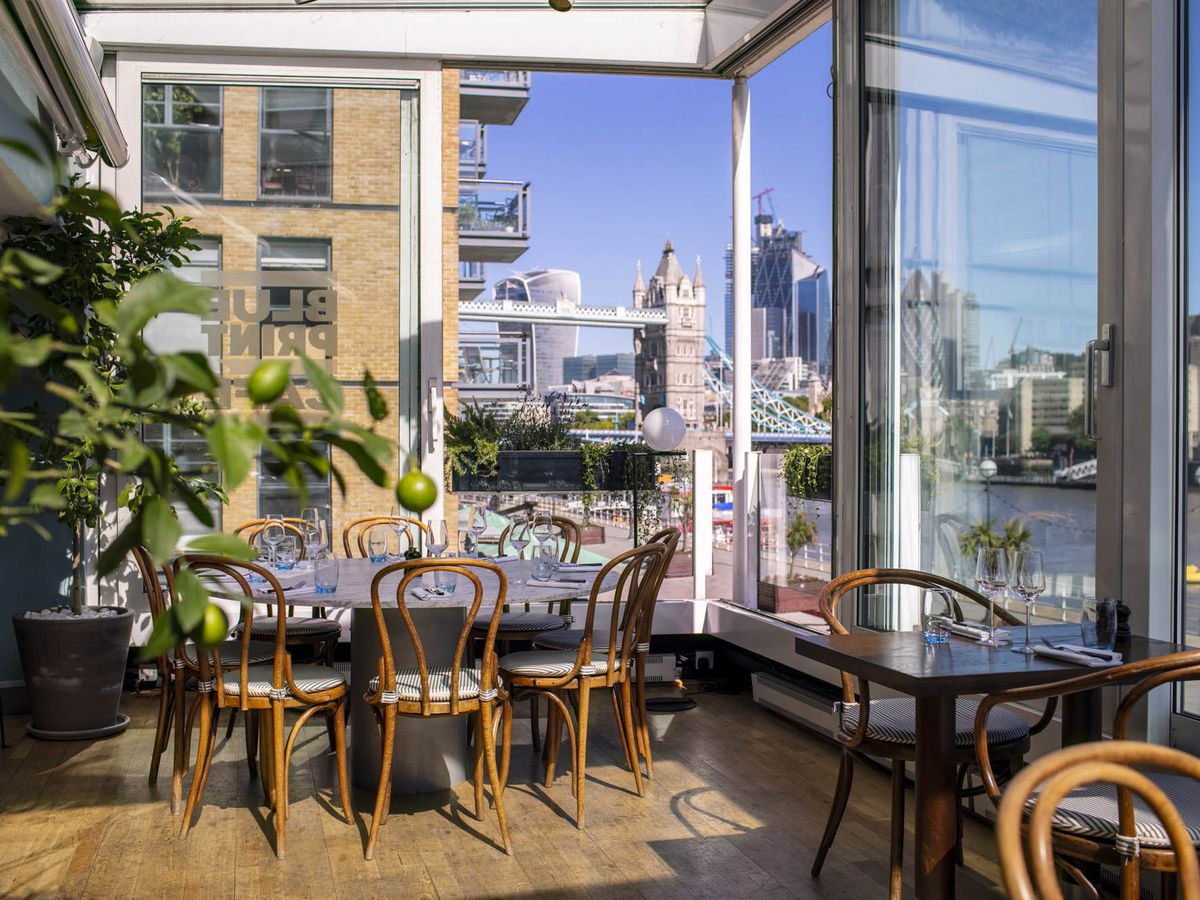 The River Thames view at Blueprint Café, one of London's best waterside restaurants