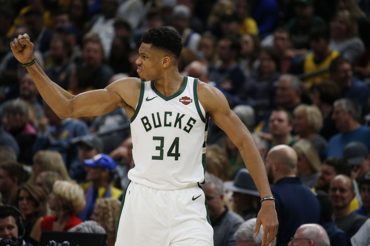 Milwaukee Bucks forward Giannis Antetokounmpo reacts after the Bucks score a basket against the Indiana Pacers during the fourth quarter at Bankers Life Fieldhouse.