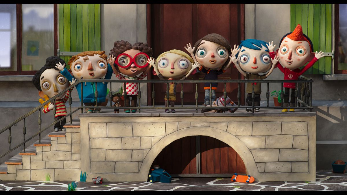 """Ahmed (from left), Georgie, Beatrice, Alice, Camille, Zucchini and Simon are the seven young children who become the best of friends while living at a group foster home in """"My Life As a Zucchini.""""   GKIDS"""