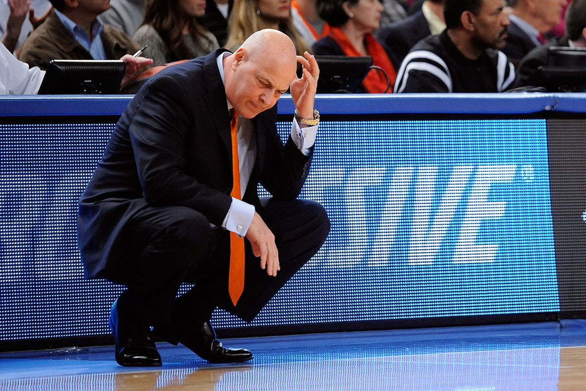 NEW YORK, NY - NOVEMBER 23:  Head coach Seth Greenberg of the Virginia Tech Hokies has faced a lot of criticism from fans for the team's struggles this season.  (Photo by Patrick McDermott/Getty Images)