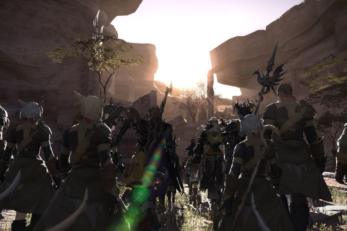 Final Fantasy 14— a group of adventurers look to the sunset
