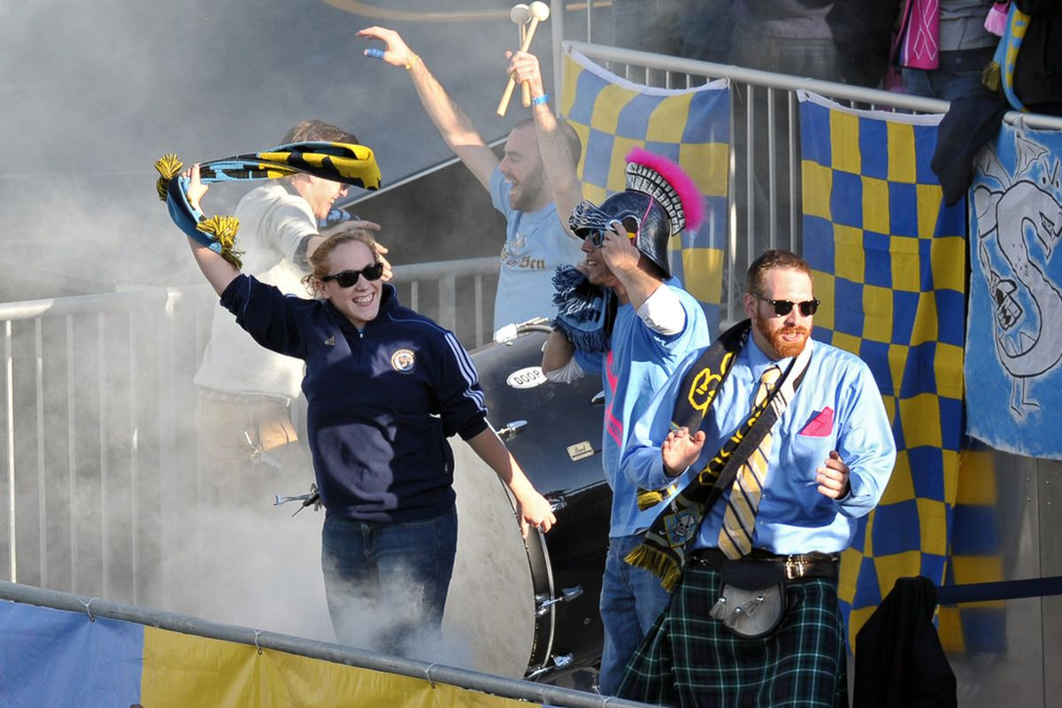 CHESTER, PA- OCTOBER 15: Philadelphia Union fans cheer during the game against Toronto FC at PPL Park on October 15, 2011 in Chester, Pennsylvania. (Photo by Drew Hallowell/Getty Images)