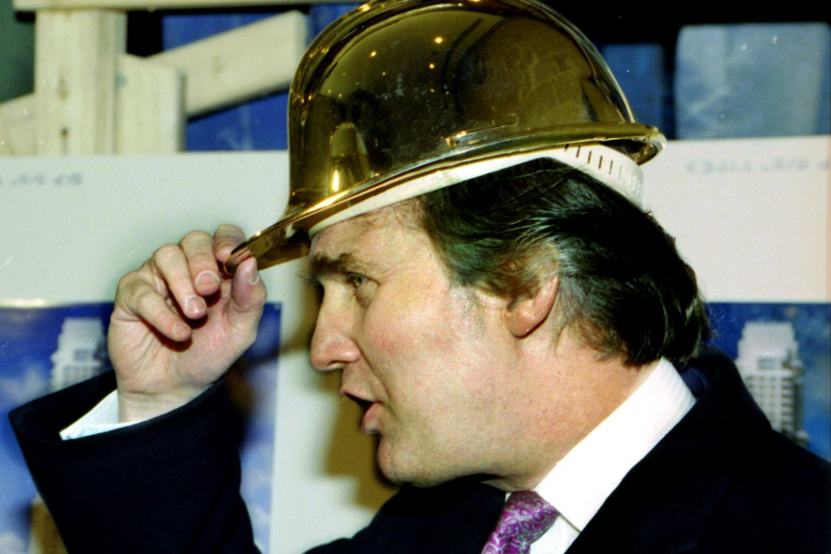 Donald Trump gold hard hat