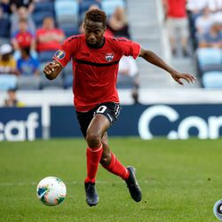 June 18, 2019 - Saint Paul, Minnesota, United States - Trinidad And Tobago midfielder Kevin Molino (10) dribbles the ball during the Panama vs Trinidad and Tobago match at Allianz Field.
