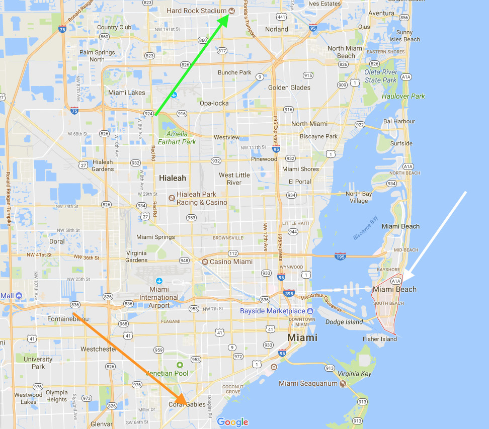 miami's hard rock stadium is far from the canes *and* south