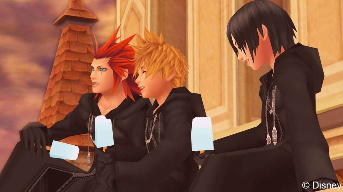 Axel, Roxas, and Xion eat ice cream in Kingdom Hearts: 358/2 Days
