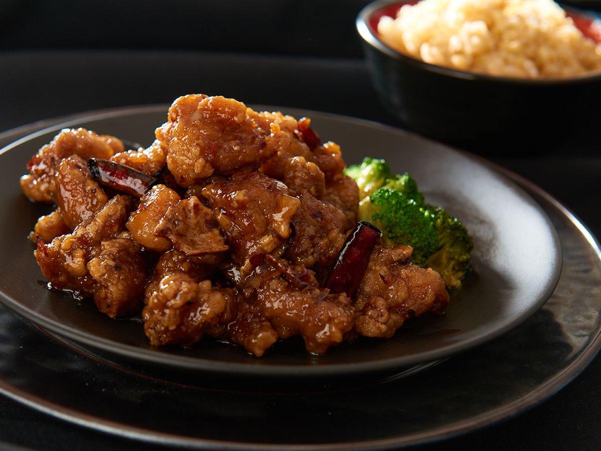 Orange chicken with Sichuan pepper