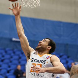 Salt Lake City Stars forward JJ O'Brien (22) lays it up during the game against the Los Angeles D-Fenders at the Lifetime Activities Center in Taylorsville on Wednesday, Feb. 08, 2017.