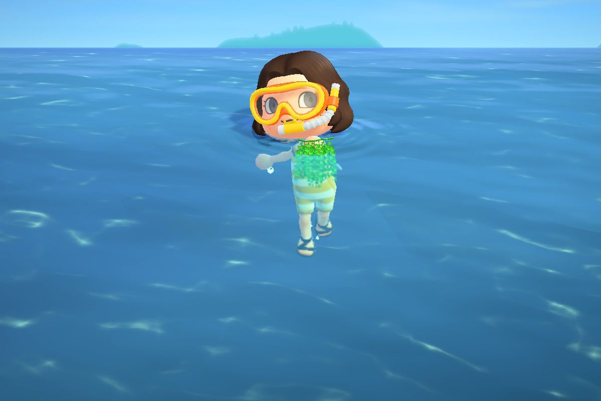Animal Crossing avatar wearing a wetsuit and holding sea grapes