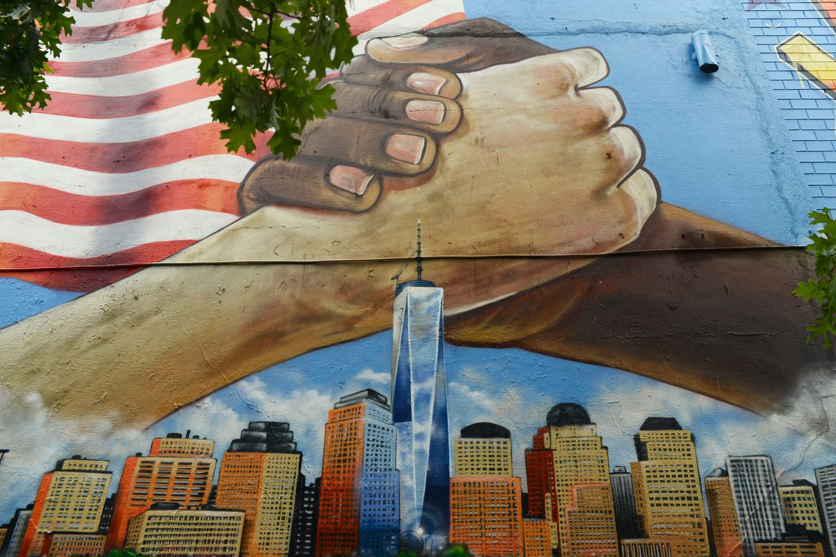 Another mural by The Mural Kings, near the 207th St. 1 train station in Inwood. They painted this one in 2020 to replace the one they did in the months after the Sept. 11 attacks.
