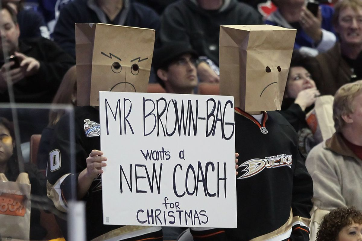 Ducks fans in reference to Randy Carlyle in a game against the Leafs (Nov. 27, 2011).