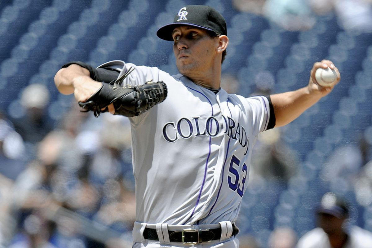 SAN DIEGO, CA - MAY 9:  Christian Friedrich #53 of the Colorado Rockies pitches during the first inning of a baseball game against the San Diego Padres at Petco Park on May 9, 2012 in San Diego, California. (Photo by Denis Poroy/Getty Images)