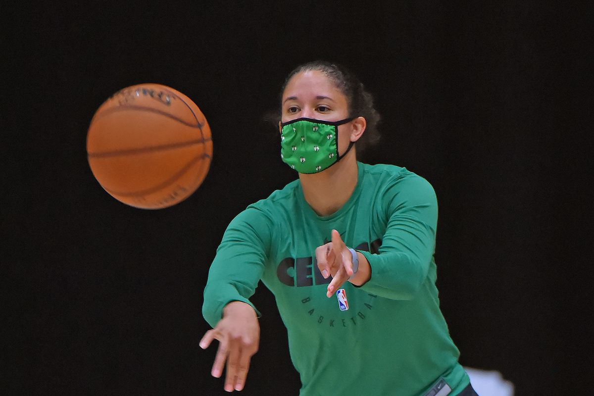 Kara Lawson of the Boston Celtics warms up during practice as part of the NBA Restart 2020 on July 13, 2020 in Orlando, Florida.