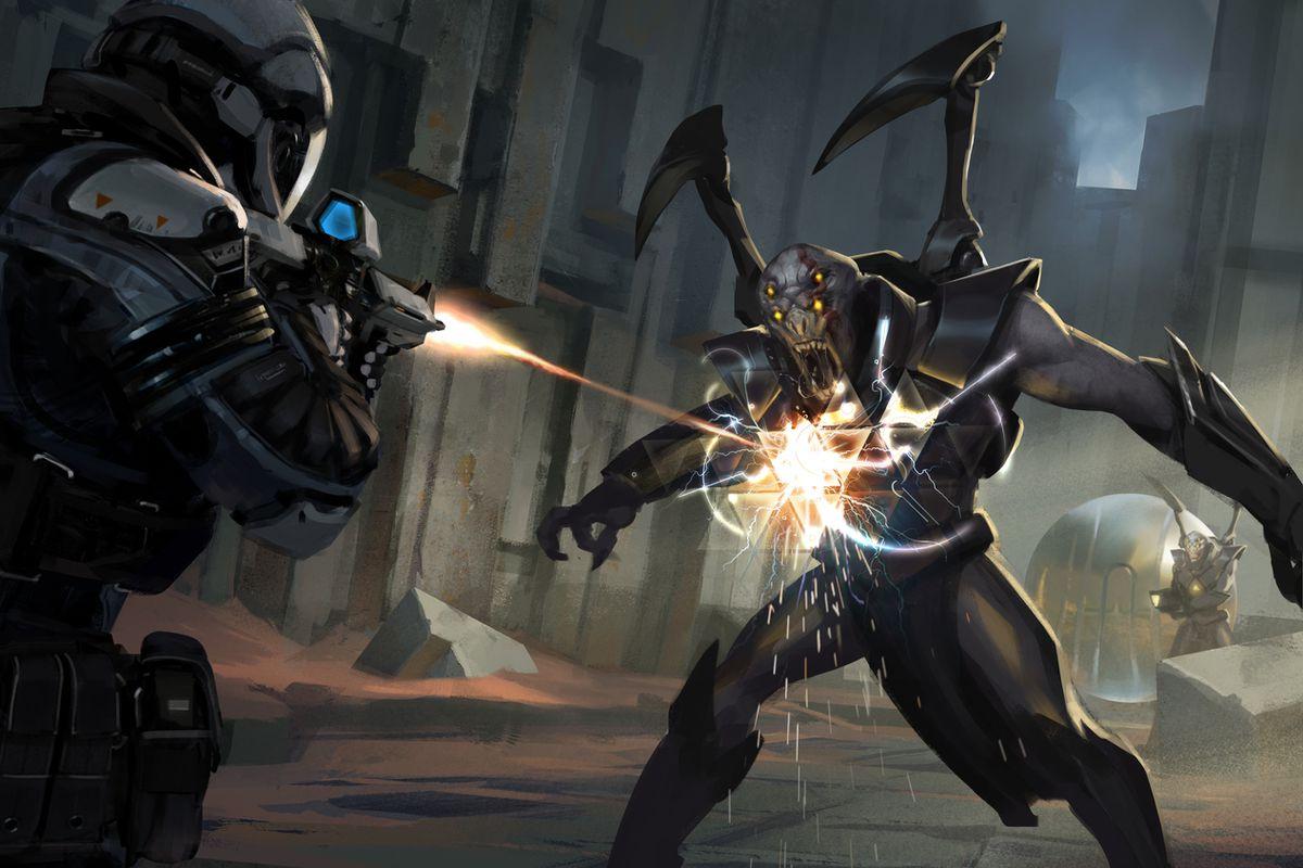 Midnight Star: Renegade - shooting an alien