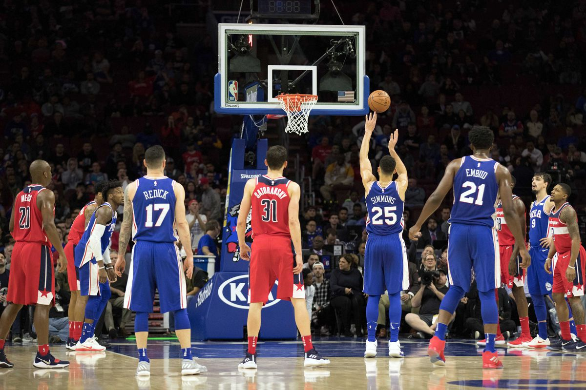 The Wizards and Sixers combined for 100 free throws, which is ...