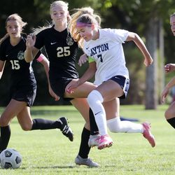 Layton and Davis High compete in a high school girls soccer game at the Angel Street Soccer Complex in Kaysville on Thursday, Sept. 22, 2021.