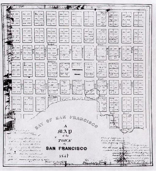 Jasper O'Farrell's 1847 survey map with added street names.