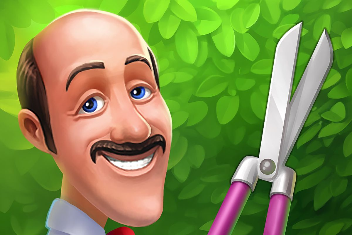 Austin the butler from Gardenscapes trims a hedge while staring creepily at you.